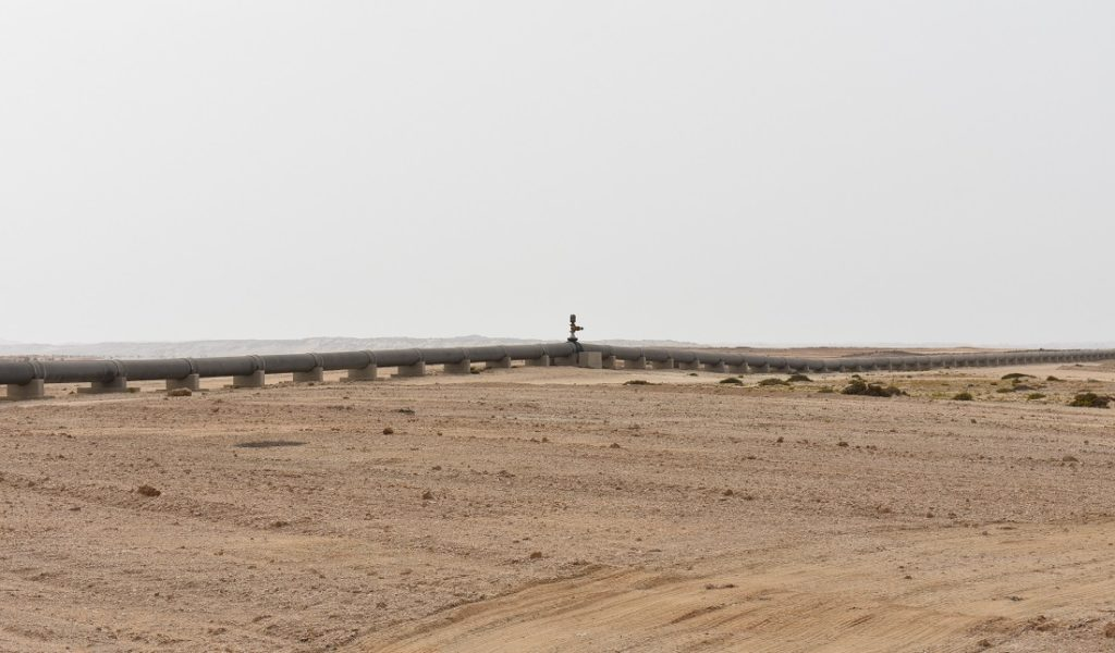 The Orano desalination plant supplies Swakopmund and mines like Rössing and Husab with water. In picture is the water pipeline that runs from the plant inland where NamWater taps into the supply. Image credit: Leon Louw