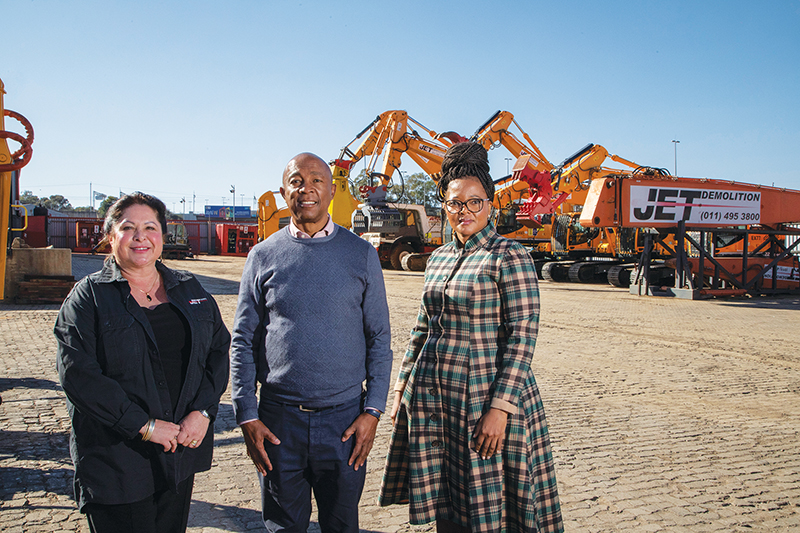 From left: Liz Brinkmann executive director at Jet Demolition; Vincent Raseroka, chairman; and Lebogang Letsoalo, non-executive director. Image credit: Jet Demolition