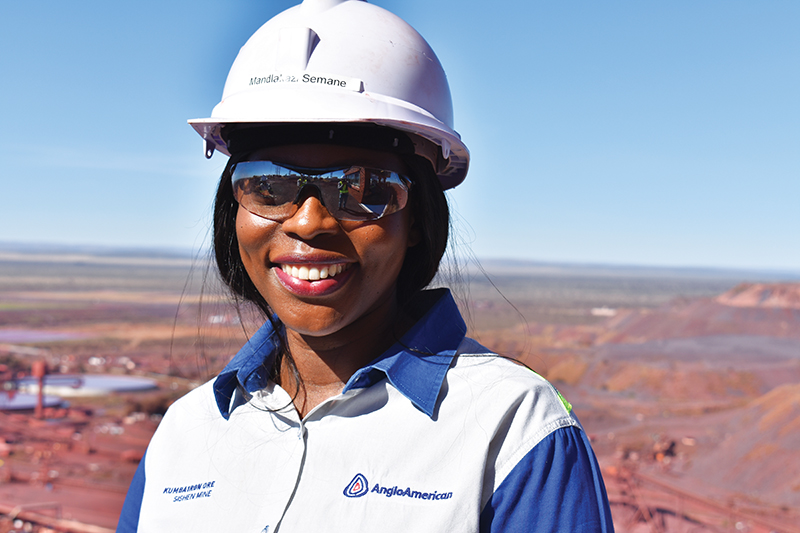 Mandlakazi Semani, the first black plant manager at Kumba Iron Ore's Kolomela mine in the Northern Cape province of South Africa. Image credit: Leon Louw