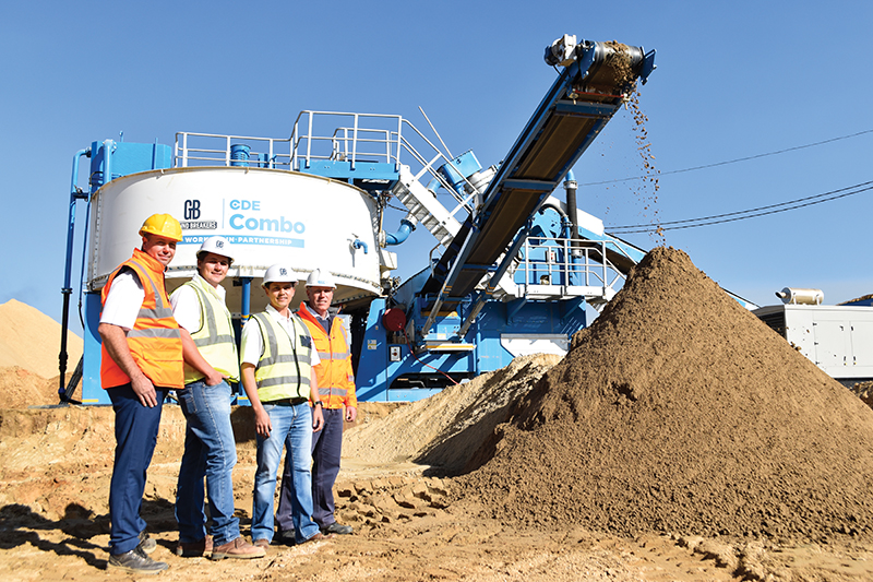 The CDE Combo has helped the Ground Breakers quarry to be more efficient and maximise their mining area. From left: Willem du Plooy, JC van Vuuren, Johan Meintjes and Wayne Warren.
