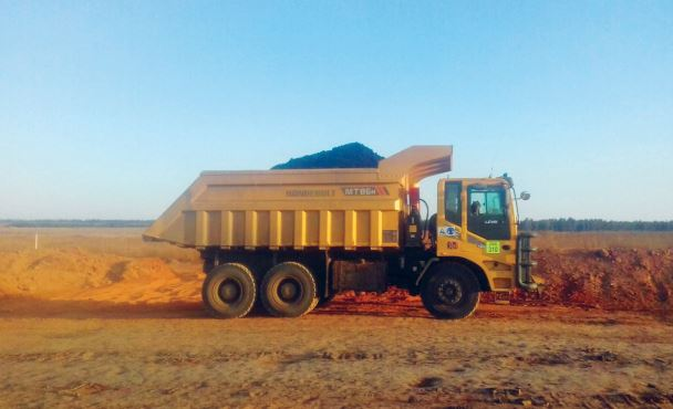 An Articulated Dump Truck hauls coal to the plant after the first major blast at Phalanndwa's Extension Project.