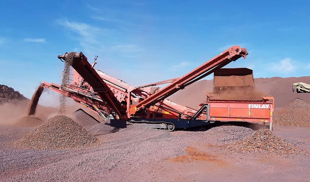 Mobile equipment is used to crush ore from different mini pits on the property.