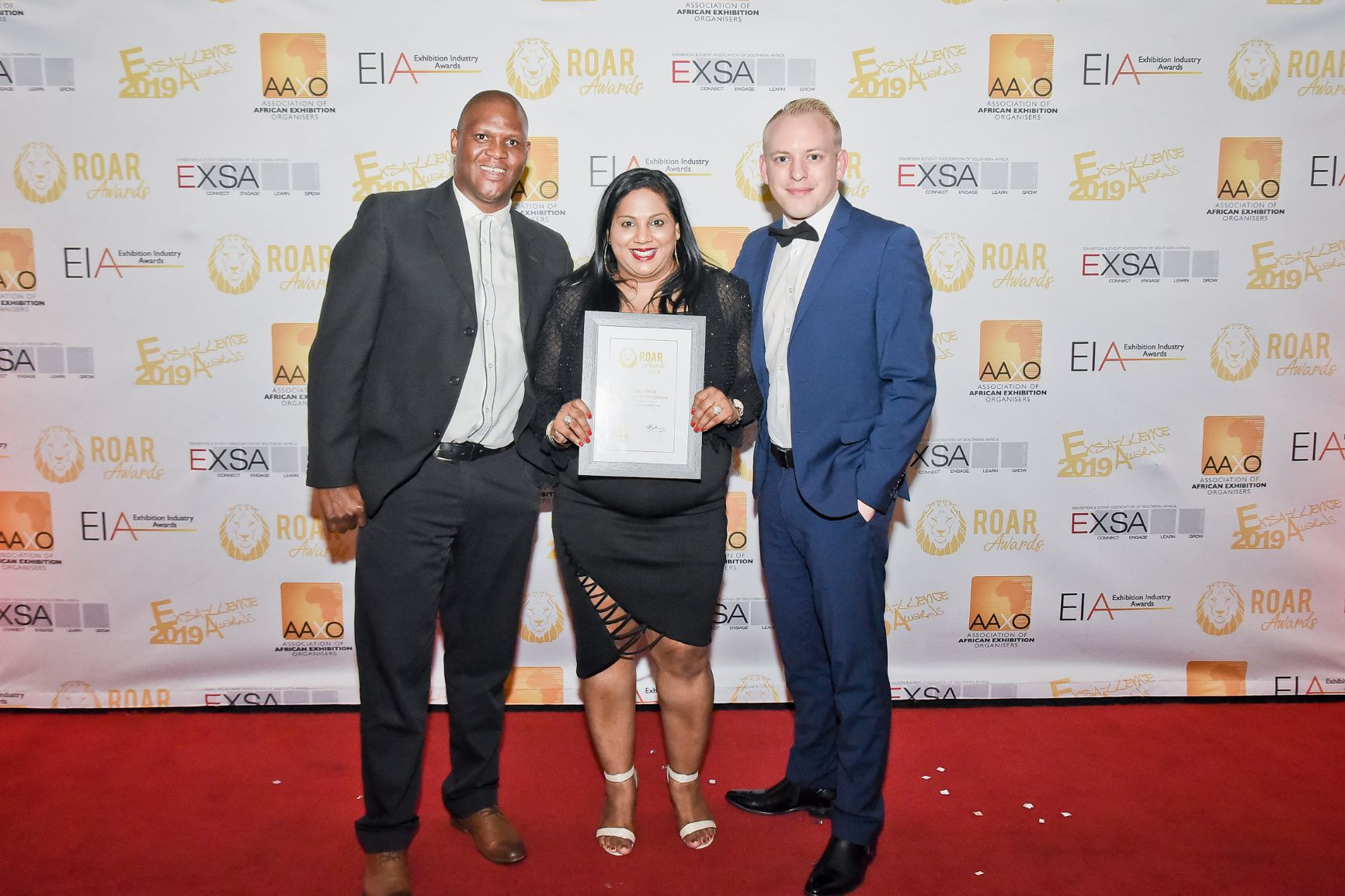 Specialised Exhibitions celebrating the Propak Africa award. (From left) Emmanuel Patty, Operations Director; Keraysha Pillay, Marketing Manager; and Sven Smit, Portfolio Director. Image credit: Specialised Exhibitions
