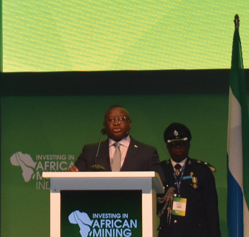 Sierra Leone President Julius Maada Bio giving his keynote address at the 2020 Investing in African Mining Indaba. Image by Leon Louw