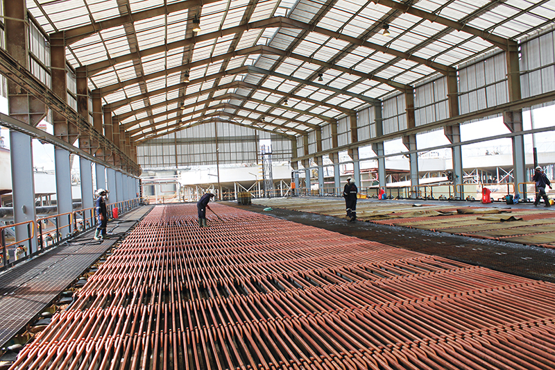 Copper cathodes. Zambia's economy remains reliant on the production of copper, which is a constraint on the economy.