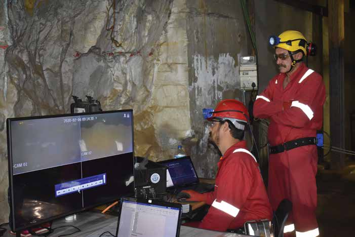 A team of engineers at Orion monitors the integrity of the shaft at the Prieska mine to determine its suitability to winch loaded cages up and down in the future. Image credit: Leon Louw