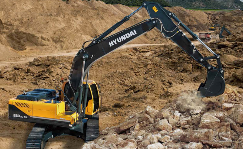 HPE Africa's Hyundai R260LC-9S excavator series is fitted with an advanced new cluster, with 7 inch wide colour LCD screen and toggle switch, that allows the operator to select personal machine preferences. Power and work mode selection, self-diagnostics, an optional rear-view camera, maintenance check lists, start-up machine security and video functions, have been integrated into the cluster, for greater flexibility and improved productivity. Image credit: Hyundai