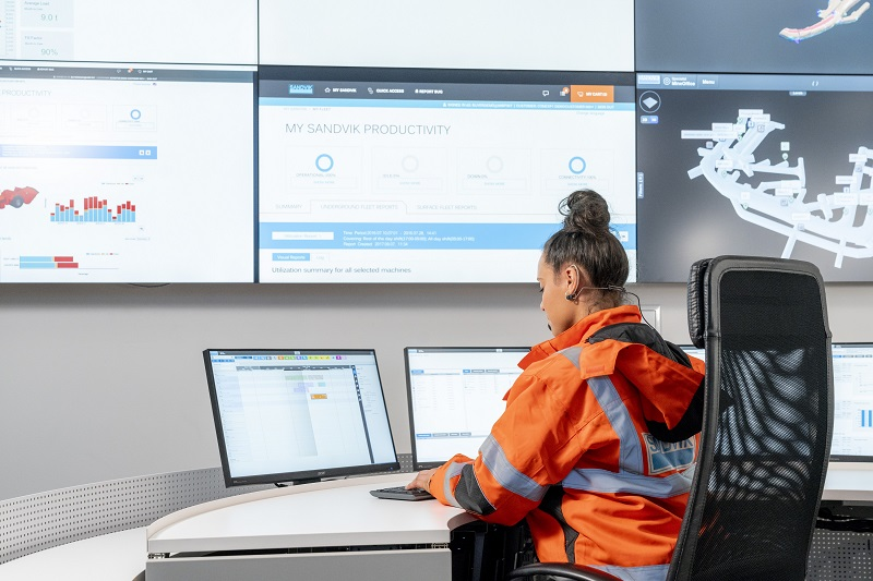 OptiMine modules include task management, location tracking, drill plan visualiser, 3D mine visualiser, scheduler and analytics. Image credit: Sandvik Mining and Rock Technology