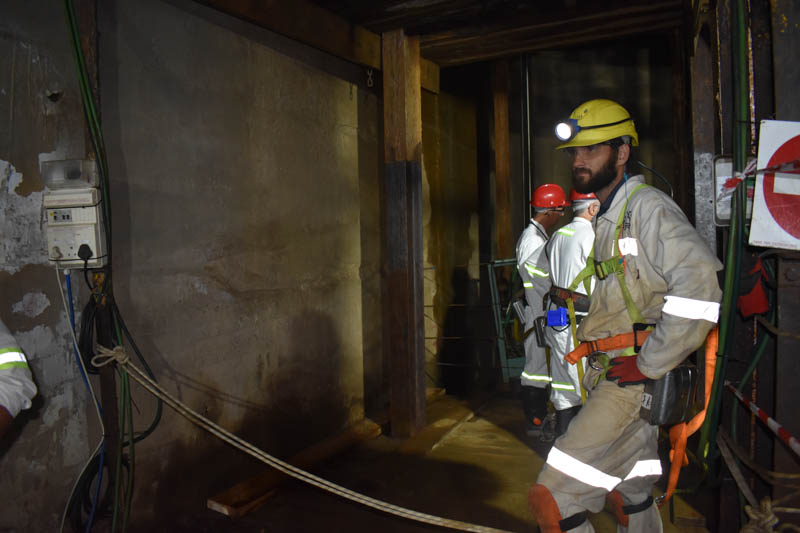 A specialist engineering team has been deployed underground to test the integrity of the historical shaft at Prieska. Image credit: Leon Louw