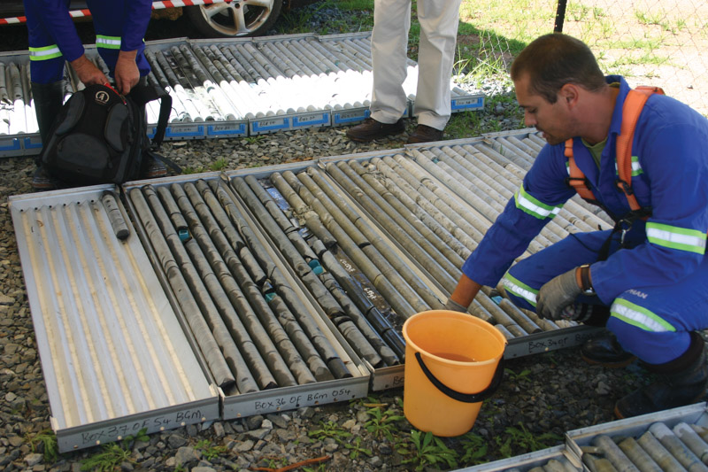 New exploration projects in South Africa have been few and far between. In picture are core samples taken at Burnstone gold mine in 2012. Photo by ©Leon Louw