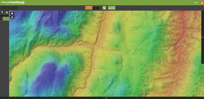 Digital surface model derived from stereo high-resolution Pleiades imagery, displayed in FarEarth Change Monitor