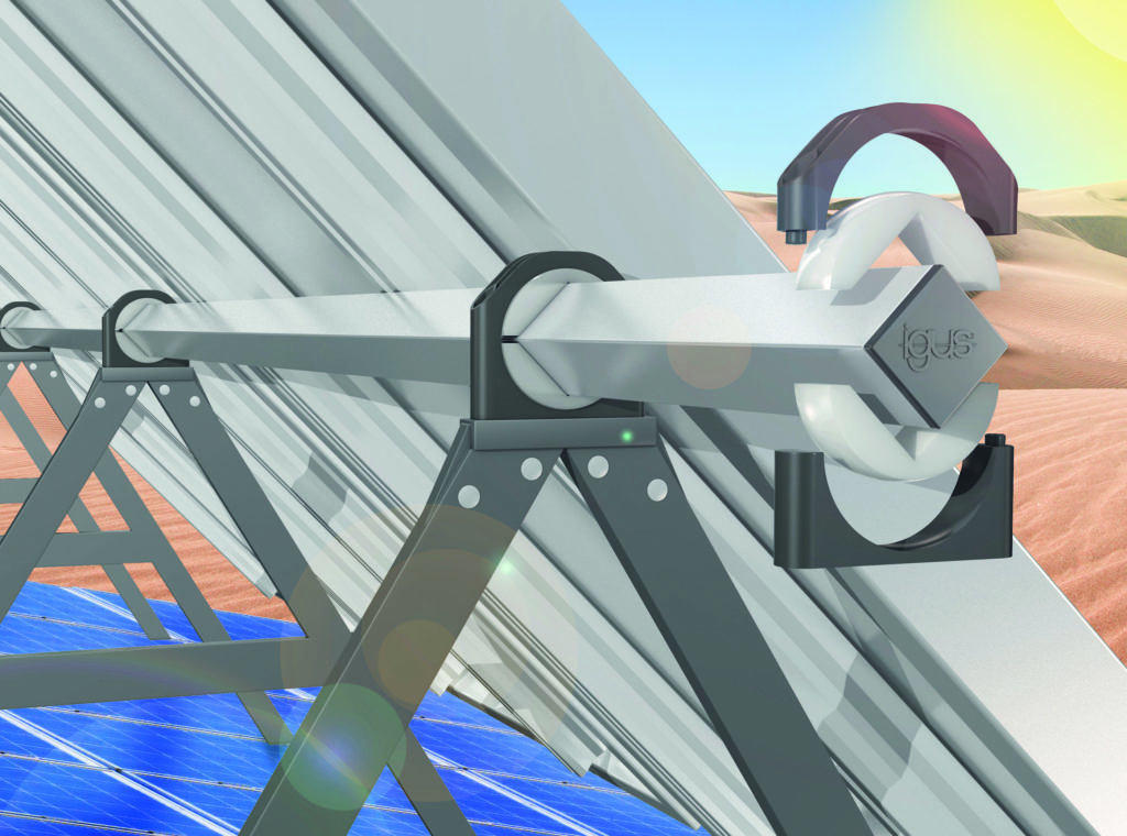The maintenance-free and long-lasting igubal pillow block bearing aligns solar modules reliably in a lubrication-free application. Image : igus South Africa